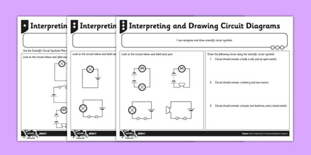 Interpreting and Drawing Circuit Symbols Activity Sheet - circuit, symbols, scientific, pictures, diagram,electricity, ks2, key stage 2, worksheet