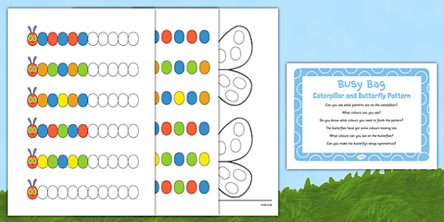 Caterpillar and Butterfly Pattern Busy Bag Prompt Card and Resource Pack - egg, caterpillar, chrysalis, butterfly, EYFS
