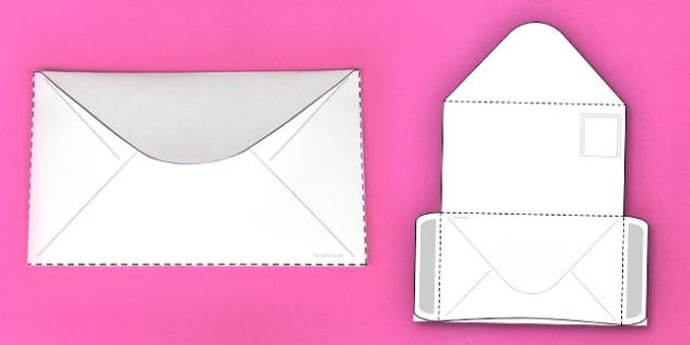 Interactive Envelope-Shaped Pocket Visual Aid Template - envelope, aid