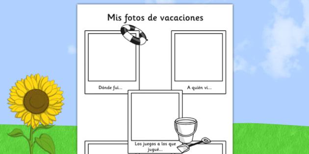 Mis fotos de vacaciones - spanish, transition, writing aid