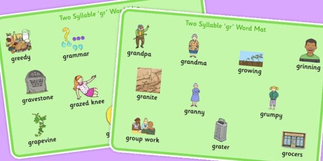 Two Syllable GR Word Mats - two syllable, gr, word mats, word, mats