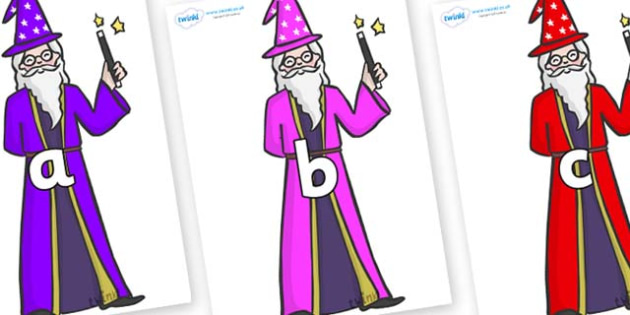 Phase 2 Phonemes on Wizards - Phonemes, phoneme, Phase 2, Phase two, Foundation, Literacy, Letters and Sounds, DfES, display