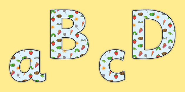 Display Lettering to Support Teaching on The Very Hungry Caterpillar - the very hungry caterpillar, display lettering, display, lettering, lettering for display, class display