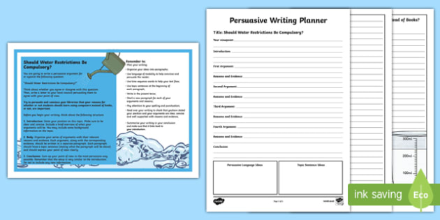 Year 5 Should Water Restrictions Be Compulsory? Persuasive Writing Activity Sheet