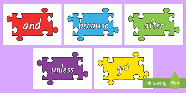 NZ levelled VCOP conjunctions On Jigsaw Pieces Display Cut-Outs