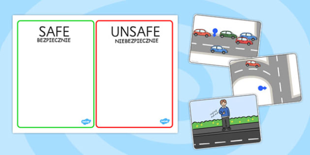 Crossing The Road Safe And Unsafe Sorting Cards Polish Translation - cars, vehicles, roads, safe, cross, crossing, pshe, health, wellbeing, sorting, activity, game