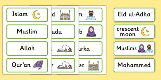 Islam Word Cards - Religion, faith, muslim, mosque, allah, God, RE, five pillars, mohammad