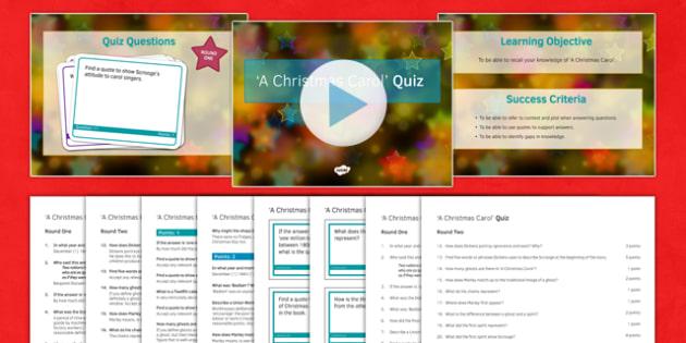 A Christmas Carol Lesson Pack 10: Quiz (post reading) - christmas carol, quiz, lesson pack, lesson, pack