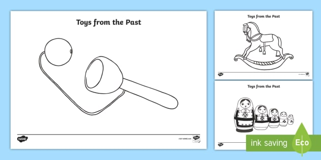 Toys from the Past Colouring Sheets - Toys, colouring poster, colouring, fine motor skills, activity, Jack in the box, diabolo, jacks, pop gun, skittles, spinning top, marbles, pogo, doll