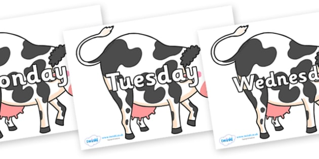 Days of the Week on Bullabaloo Cow to Support Teaching on Farmyard Hullabaloo - Days of the Week, Weeks poster, week, display, poster, frieze, Days, Day, Monday, Tuesday, Wednesday, Thursday, Friday, Saturday, Sunday