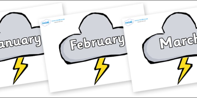 Months of the Year on Weather Symbols (Stormy) - Months of the Year, Months poster, Months display, display, poster, frieze, Months, month, January, February, March, April, May, June, July, August, September
