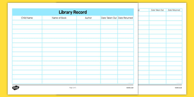 Library Book Return Record - books, libraries, recording sheet, check out