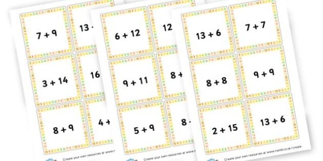 Addition to 20 cards - Addition Worksheets Primary Resources - Add, Plus, More, Adding