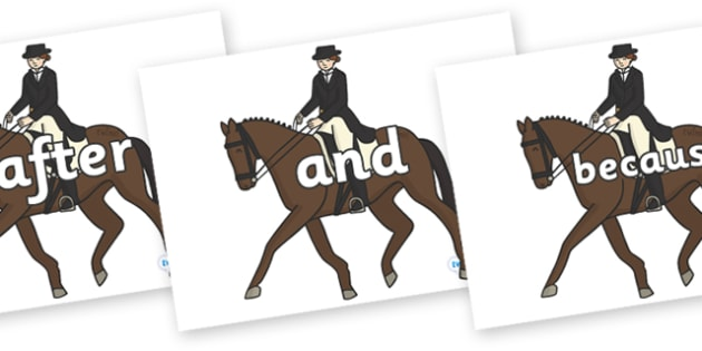 Connectives on Equestrian (Horses) - Connectives, VCOP, connective resources, connectives display words, connective displays