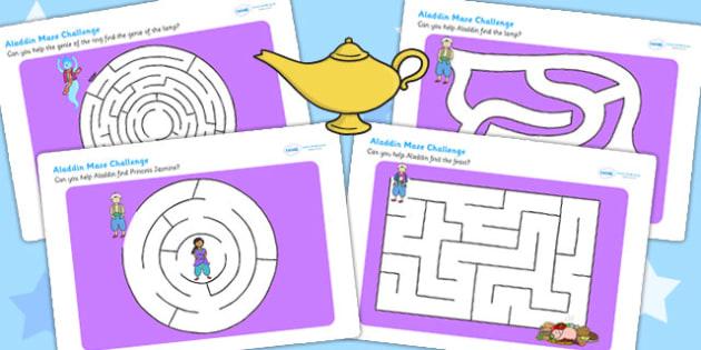 Aladdin Differentiated Maze Activity Sheet Pack - aladdin, stories , worksheet