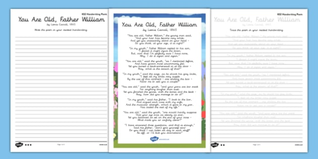 You are Old Father William Handwriting Poem Pack - you are old father william, handwriting, poetry, poem pack