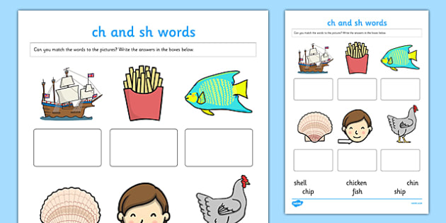 Printables Collect The Pictures That Begin Ch And Sh sh homework sheets ch quot and sounds matching activity worksheet twinkl