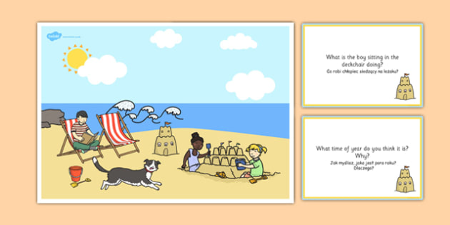 Seaside Scene and Question Cards Polish Translation - polish, seaside, questions, comprehension pack