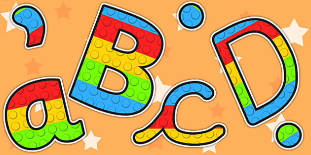 Building Block Themed A4 Display Lettering - display, letters, toys, building brick themed,