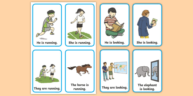 Verb Action Flash Cards Present Tense - verb, action, flashcards