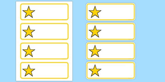 Editable Yellow Stars Drawer, Peg, Name Labels - Editable Label Templates, star, stars, Resource Labels, Name Labels, Editable Labels, Drawer Labels, Coat Peg Labels, Peg Label, KS1 Labels, Foundation Labels, Foundation Stage Labels, Teaching Label