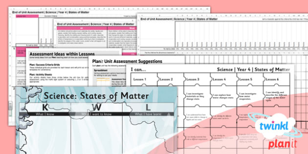 PlanIt - Science Year 4 - States of Matter Unit Assessment Pack - planit, assessment, pack