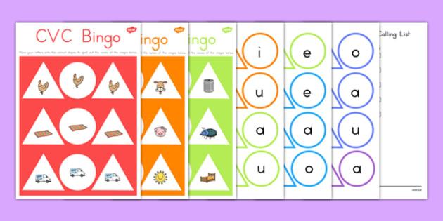 CVC Bingo Game - australia, cvc, bingo, game, activity, words, sounds, class