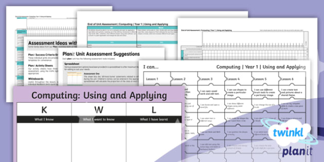 PlanIt Computing Year 1 Using and Applying Unit Assessment Pack - computer, computing, assessment, review, end of unit, planning, assess, IT, ICT