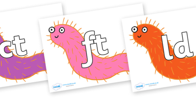 Final Letter Blends on Bristle Worm to Support Teaching on Sharing a Shell - Final Letters, final letter, letter blend, letter blends, consonant, consonants, digraph, trigraph, literacy, alphabet, letters, foundation stage literacy
