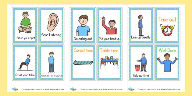 Behaviour prompt cards - Rules & Behaviour Primary Resources, golden time, routines, reward