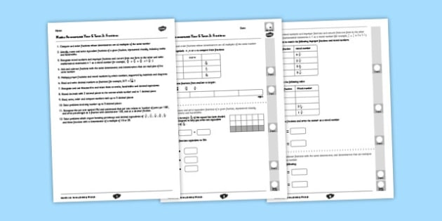 Year 5 Maths Assessment: Fractions Term 3 - year 5, maths, assessment, number, fractions