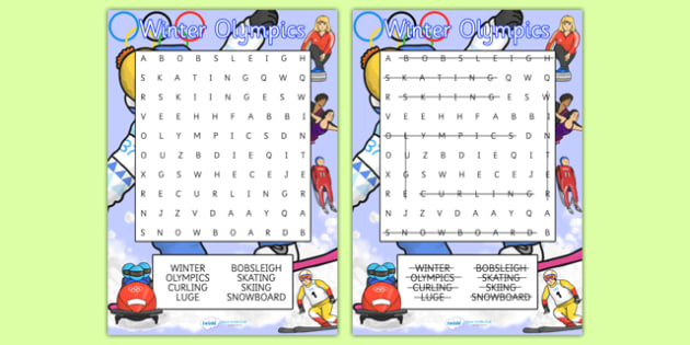 Winter Olympics Wordsearch - winter, olympic, wordsearch, games