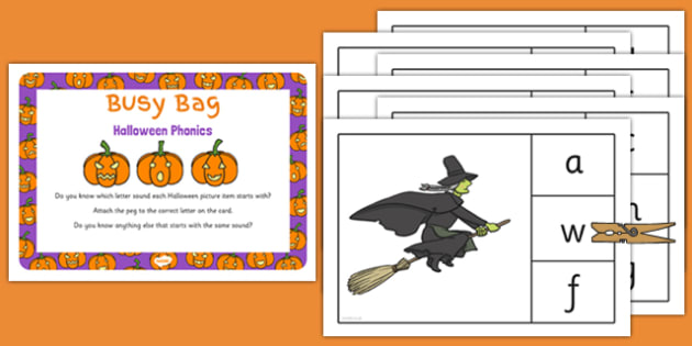 Halloween Phonics Busy Bag Prompt Card and Resource Pack - halloween, phonics, busy bag
