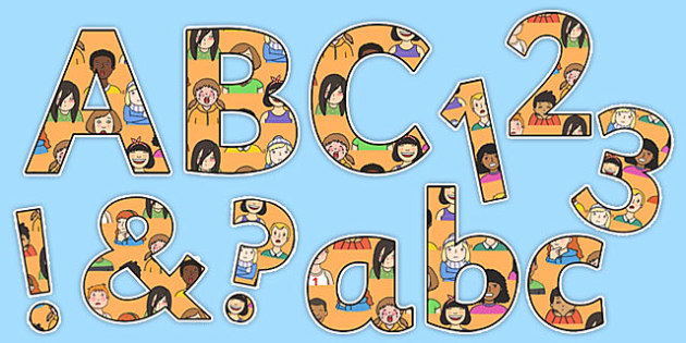 All About Me Display Lettering - all about me, all about me lettering, all about me alphabet, ourselves letters, faces lettering, emotions