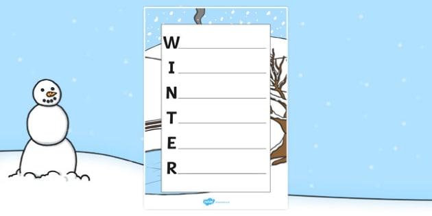 Winter Acrostic Poem Template - winter, winter acrostic poem, winter acrostic template, weather and seasons, seasons acrostic poem, seasons poem template