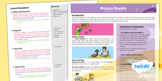 PlanIt - History LKS2 - Riotous Royalty Planning Overview - planit, planning, overview, history, riotous royalty
