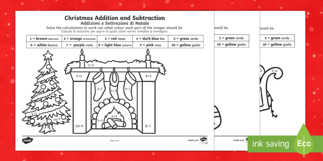 Christmas addition and subtraction to 10 colour by number English/Italian - Christmas, Nativity, Jesus, xmas, Xmas, Father Christmas, Santa, colouring, - Christmas, Nativity, Jesus, xmas, Xmas, Father Christmas, Santa, colouring,