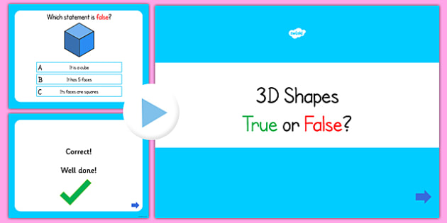 3D Shapes True or False PowerPoint Quiz - 3D shape, shape, quiz
