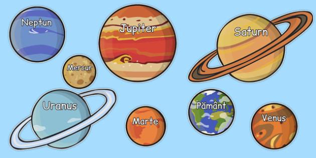 Spatiu, Numele planetelor din Sistemul nostru Solar, Plansa