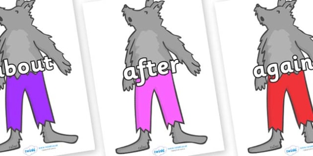 KS1 Keywords on Werewolf - KS1, CLL, Communication language and literacy, Display, Key words, high frequency words, foundation stage literacy, DfES Letters and Sounds, Letters and Sounds, spelling
