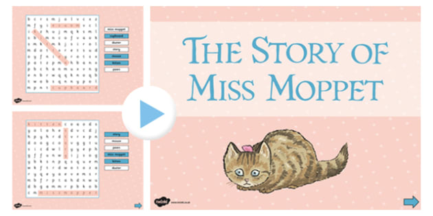 Beatrix Potter - The Story of Miss Moppet Interactive Wordsearch - beatrix potter, miss moppet