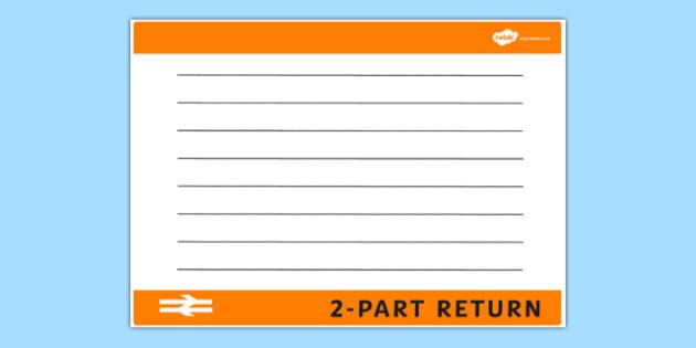 Blank Train Ticket Template - train ticket, template, writing template, writing aid, blank template, blank, train ticket template, blank writing template