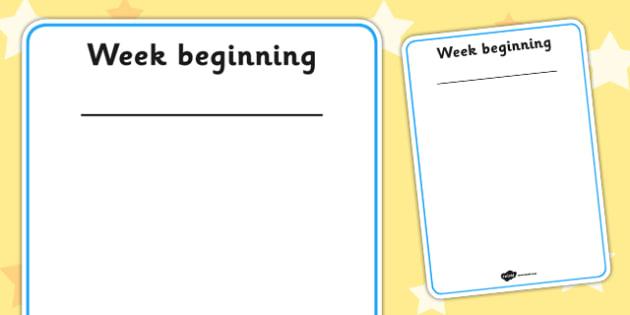 Week Plan Poster - week plan, posters, display, plan, weekly