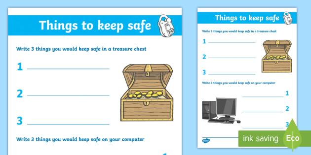 Internet Safety Things to Keep Safe Activity Sheet - internet, worksheet