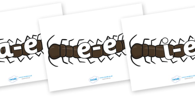 Modifying E Letters on Centipedes - Modifying E, letters, modify, Phase 5, Phase five, alternative spellings for phonemes, DfES letters and Sounds