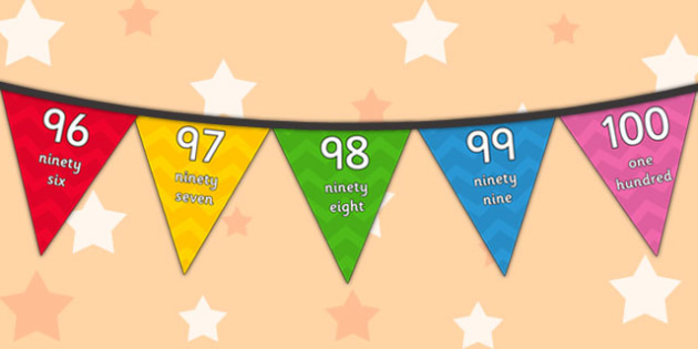 Multicoloured 0-100 on Bunting - bunting, display, numbers, 1, 100