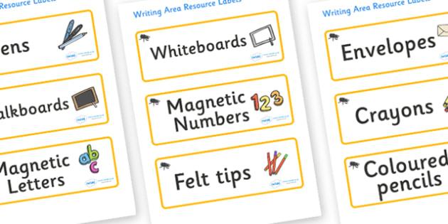 Beetle Themed Editable Writing Area Resource Labels - Themed writing resource labels, literacy area labels, writing area resources, Label template, Resource Label, Name Labels, Editable Labels, Drawer Labels, KS1 Labels, Foundation Labels, Foundation