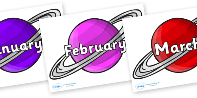 Months of the Year on Planets - Months of the Year, Months poster, Months display, display, poster, frieze, Months, month, January, February, March, April, May, June, July, August, September