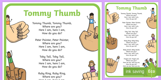 Tommy Thumb Nursery Rhyme Poster - tommy thumb, nursery rhyme