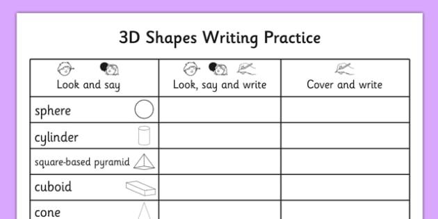 3D Shapes Writing Practice Worksheet - 3d shapes, writing, practice, worksheet, 3d, shape
